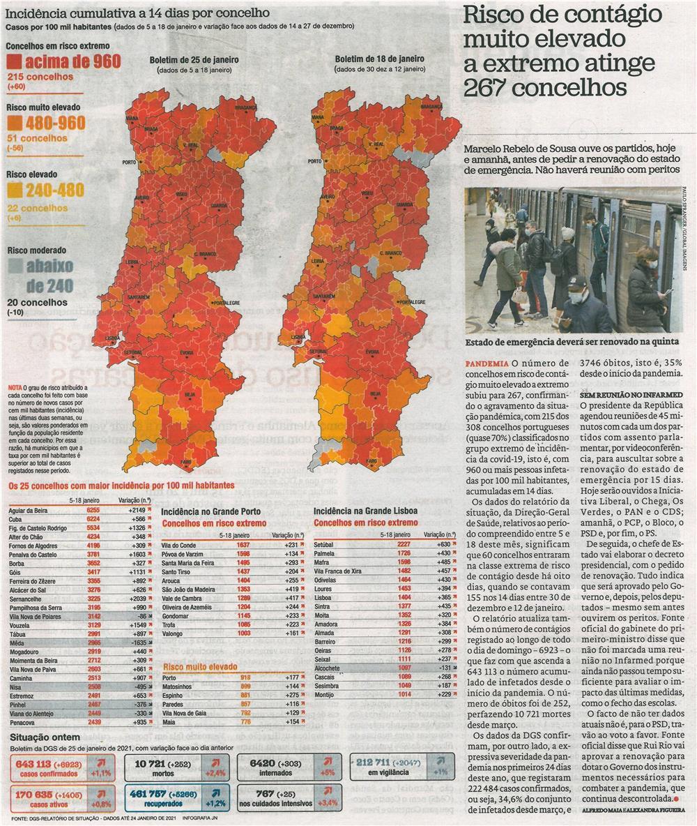 JN-26jan.'21-'primeiro plano',p.6-Risco de contágio muito elevado a extremo atinge 267 concelhos : incidência cumulativa a 14 dias por concelho.jpg