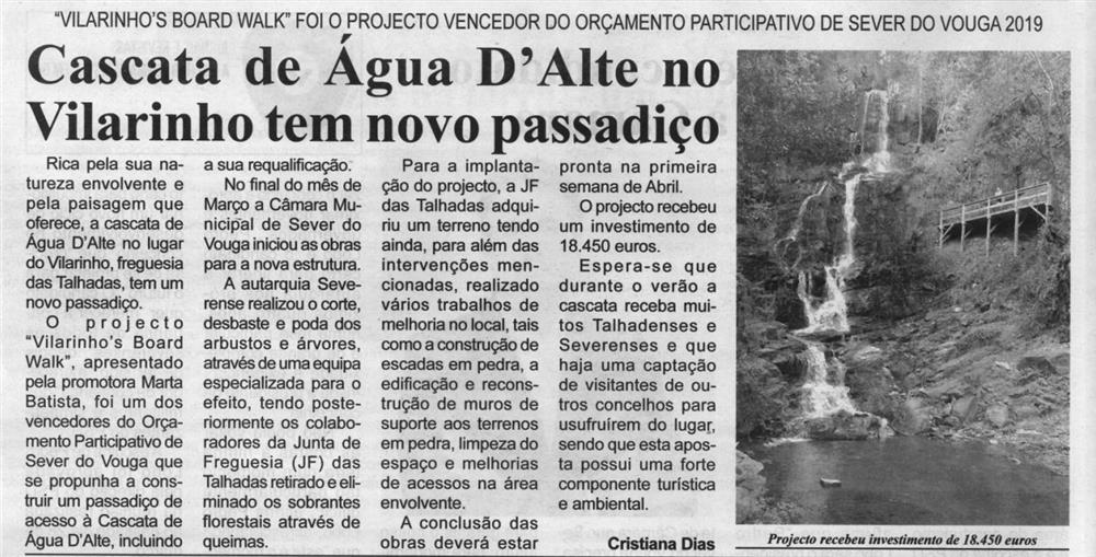 BV-1.ªabr.'21-p.4-Cascata de Água D'Alte no Vilarinho tem novo passadiço : Vilarinho's Board Walk foi o projeto vencedor do orçamento participativo de Sever do Vouga 2019.JPG