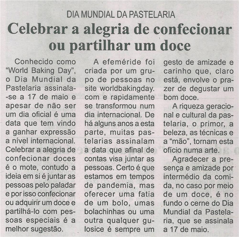 BV-1.ªmaio'21-p.11-Dia Mundial da Pastelaria : celebrar a alegria de confecionar ou partilhar um doce.jpg
