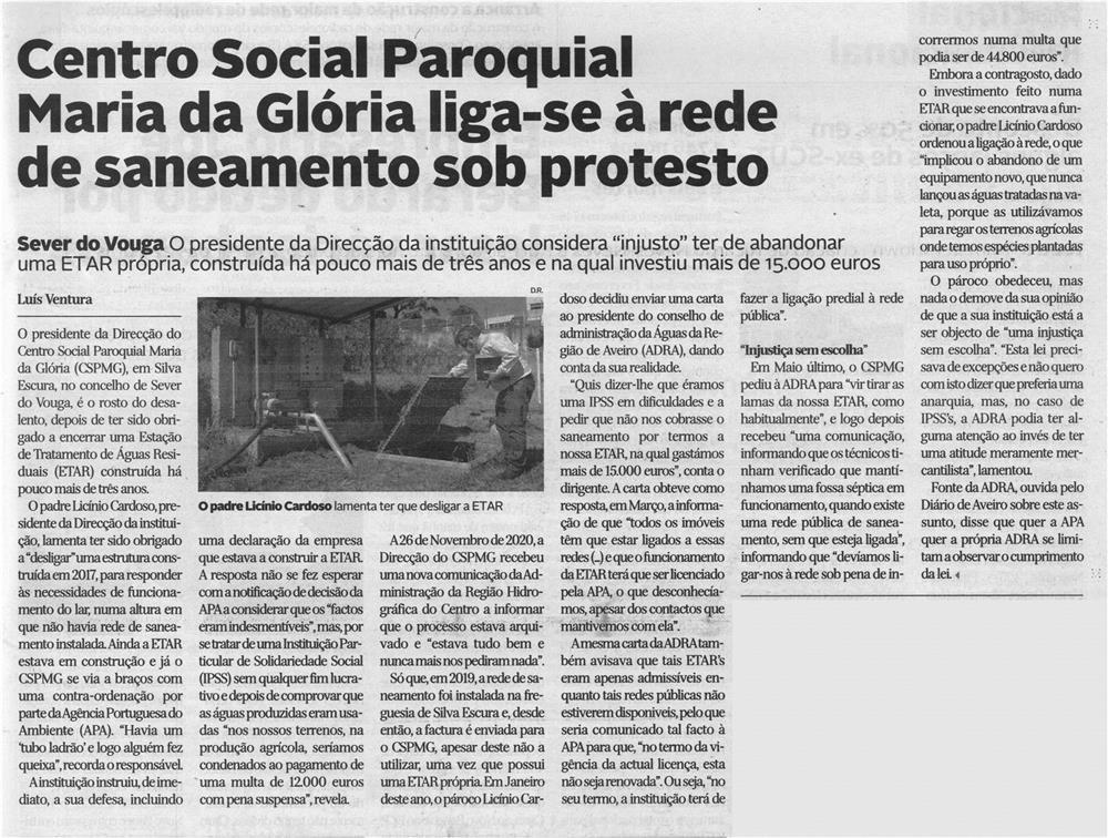 DA-30jun.'21-p.17-Centro Social Paroquial Maria da Glória liga-se à rede de saneamento sob protesto.jpg