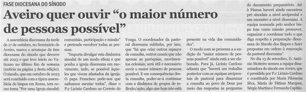 """CV-N.º 4469 (13 out. '21), p. 2-Aveiro quer ouvir """"o maior número de pessoas possível"""".jpg"""