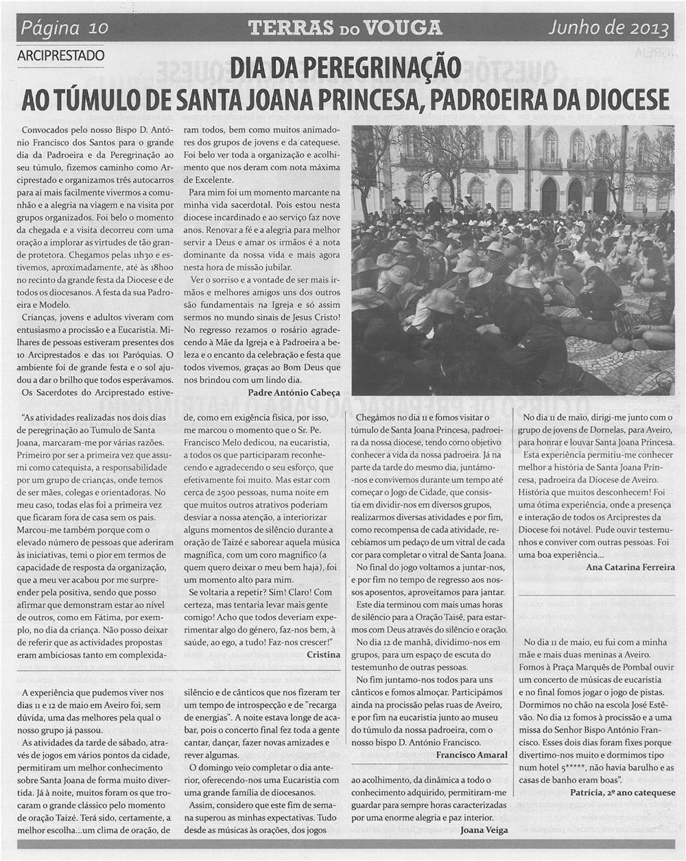 TV-jun13-p10-Dia da peregrinação ao túmulo de Santa Joana Princesa, Padroeira da Diocese