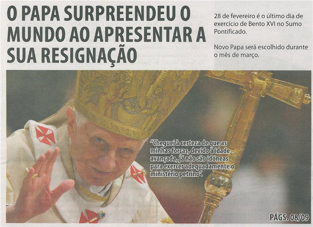 TV-mar13-p1-Papa surpreendeu o mundo ao apresentar a sua resignação