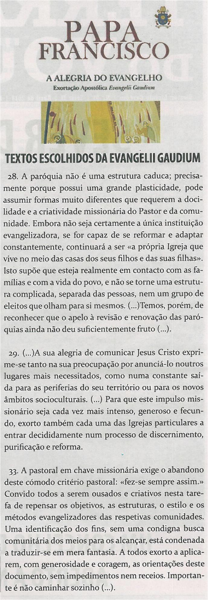 JPEG: TV-abr14-p2-A alegria do evangelho : Exortação Apostólica Evangelii Gaudium : textos escolhidos da Evangelii Gaudium
