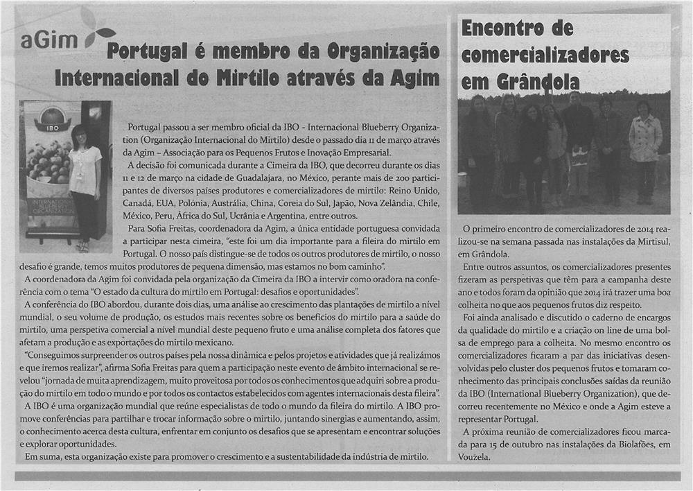 JPEG: TV-abr14-p11-Portugal é menbro da Organização Internacional do Mirtilo através da AGIM - encontro de comercializadores em Grândola