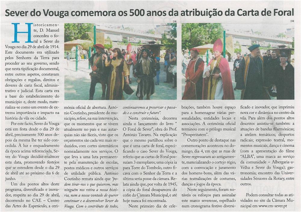 JPEG: EV-maio'14-p9-Sever do Vouga comemora os 500 anos da atribuição da Carta de Foral
