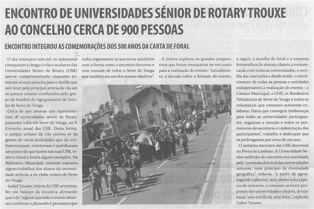TV-jun14-p9-Encontro de Universidades Sénior de Rotary trouxe ao concelho cerca de 900 pessoas : encontro integrou as comemorações dos 500 anos da Carta de Foral - JPG