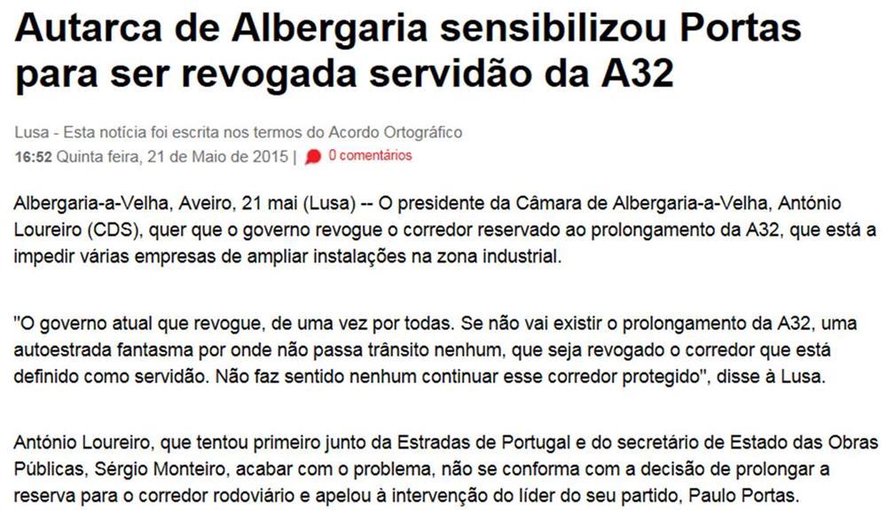Visão[em linha]-21maio2015-Autarca de Albergaria sensibilizou Portas para ser revogada rervidão da A32.jpg