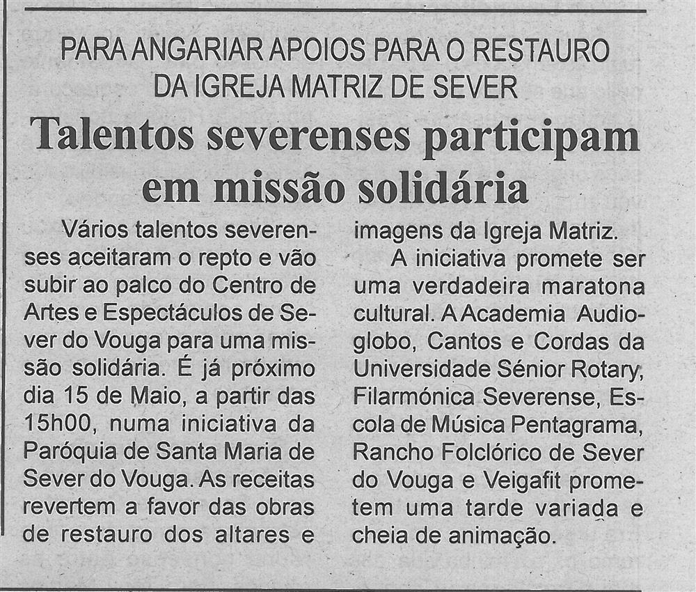 BV-1.ªmaio'16-p.6-Talentos severenses participam em missão solidária : para angariar apoios para o restauro da Igreja Matriz de Sever.jpg