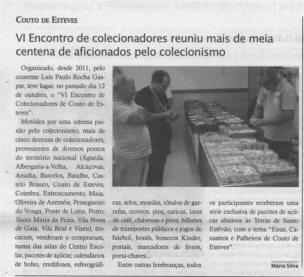 TV-nov.'19-p.14-Paróquias e freguesias : Couto de Esteves : VI Encontro de Colecionadores reuniu mais de meia centena de aficionados pelo colecionismo.jpg