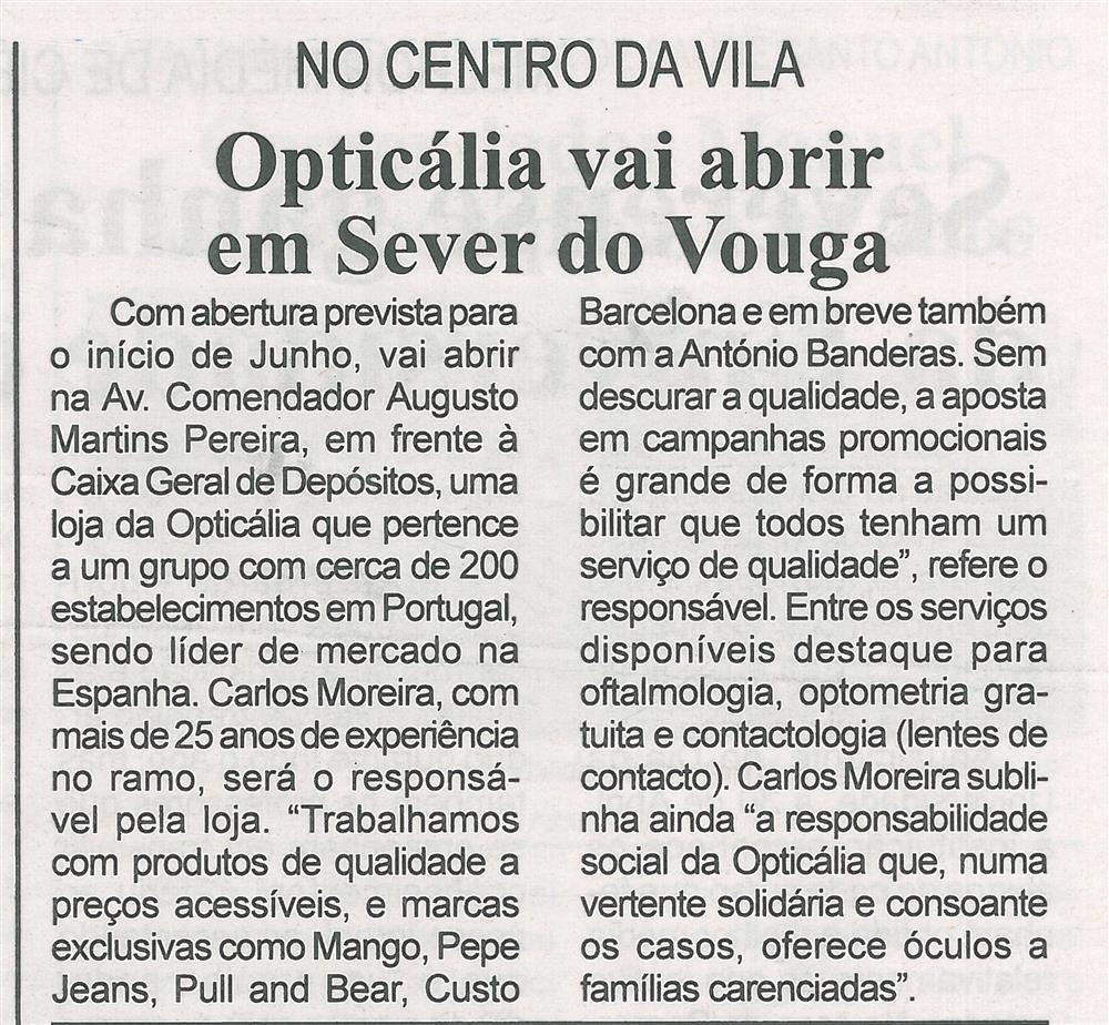 BV-2.ªmaio'15-p.7-Opticália vai abrir em Sever do Vouga : no centro da vila.jpg
