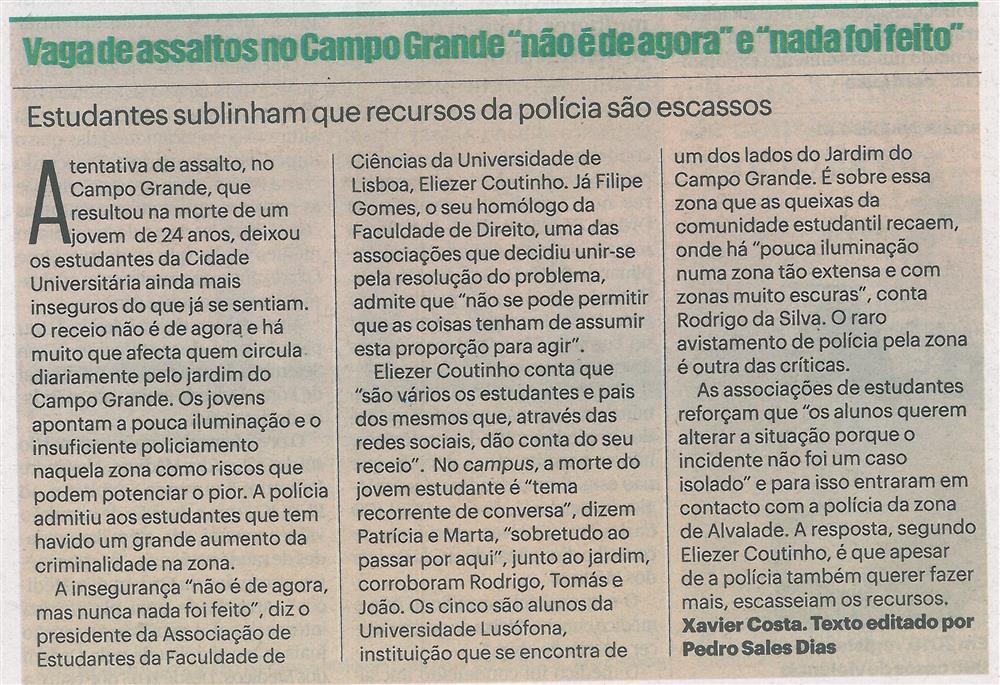 Público-08jan'20-p.18-Vaga de assaltos no Campo Grande não é de agora e nada foi feito : estudantes sublinham que recursos da Polícia são escassos.jpg