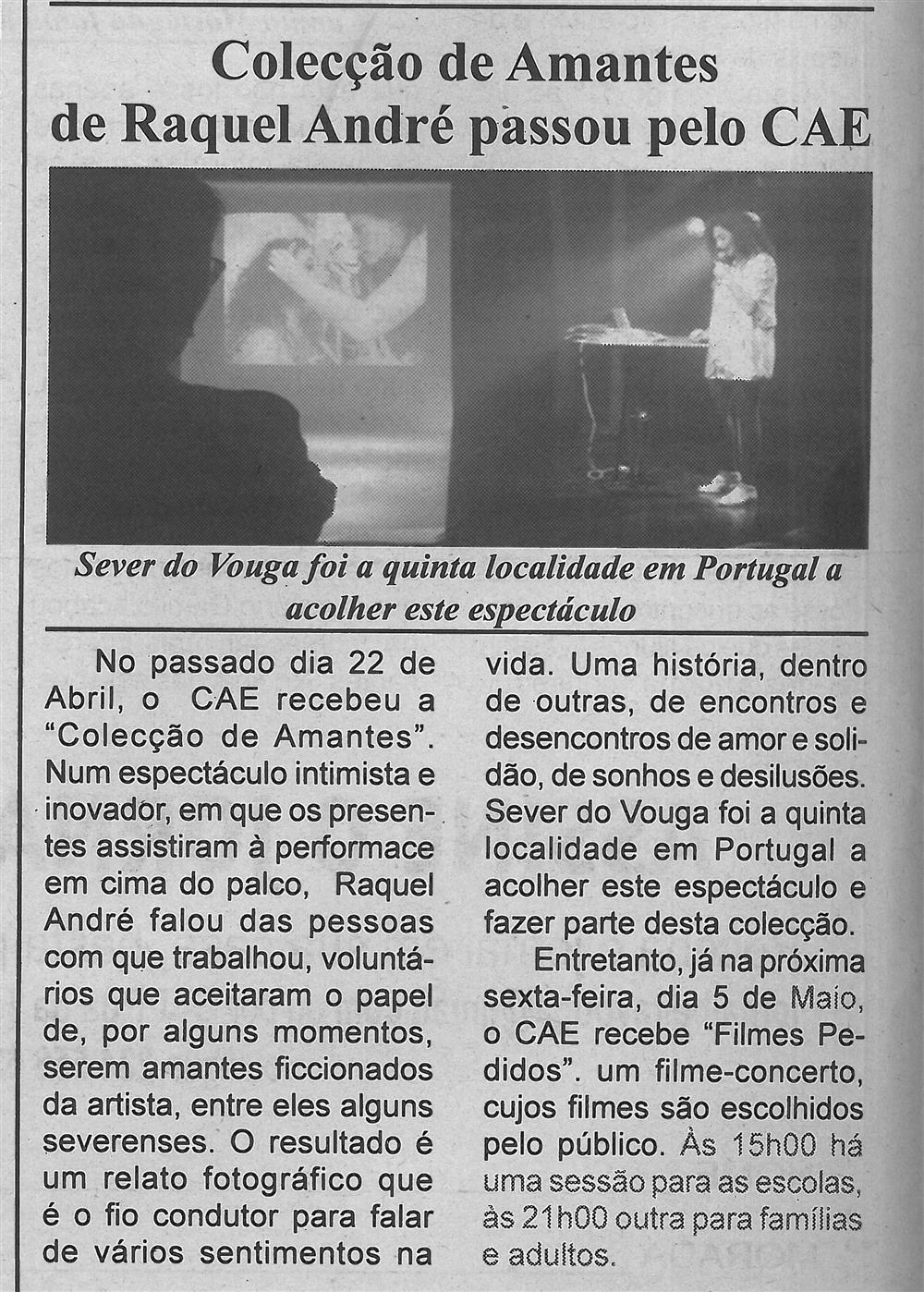 BV-1.ªmaio'17-p.4-Coleção de Amantes de Raquel André passou pelo CAE : Sever do Vouga foi a quinta localidade em Portugal a acolher este espetáculo.jpg