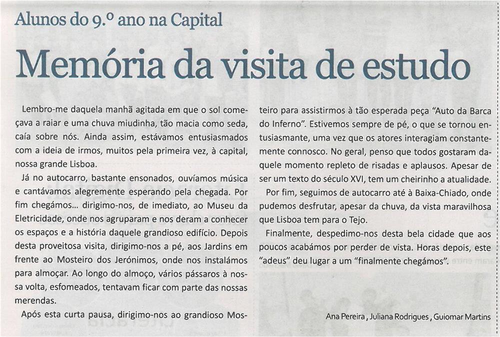JE-mar14-p4-Memória da visita de estudo : alunos do 9.º ano na capital