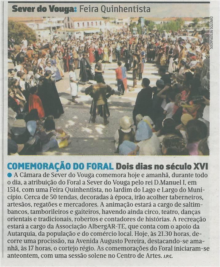 JN-01maio'15-p.27-Comemoração do Foral : dois dias no século XVI : Sever do Vouga : Feira Quinhentista.jpg