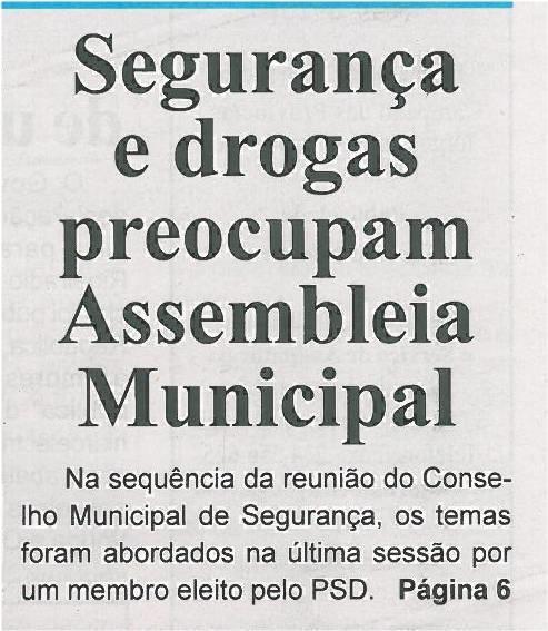 BV-1ªmar13-p1-Segurança e drogas preocupam Assembleia Municipal