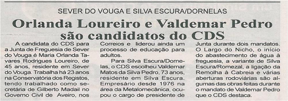 BV-1ªjun13-p2-Orlanda Loureiro e Valdemar Pedro são candidatos do CDS