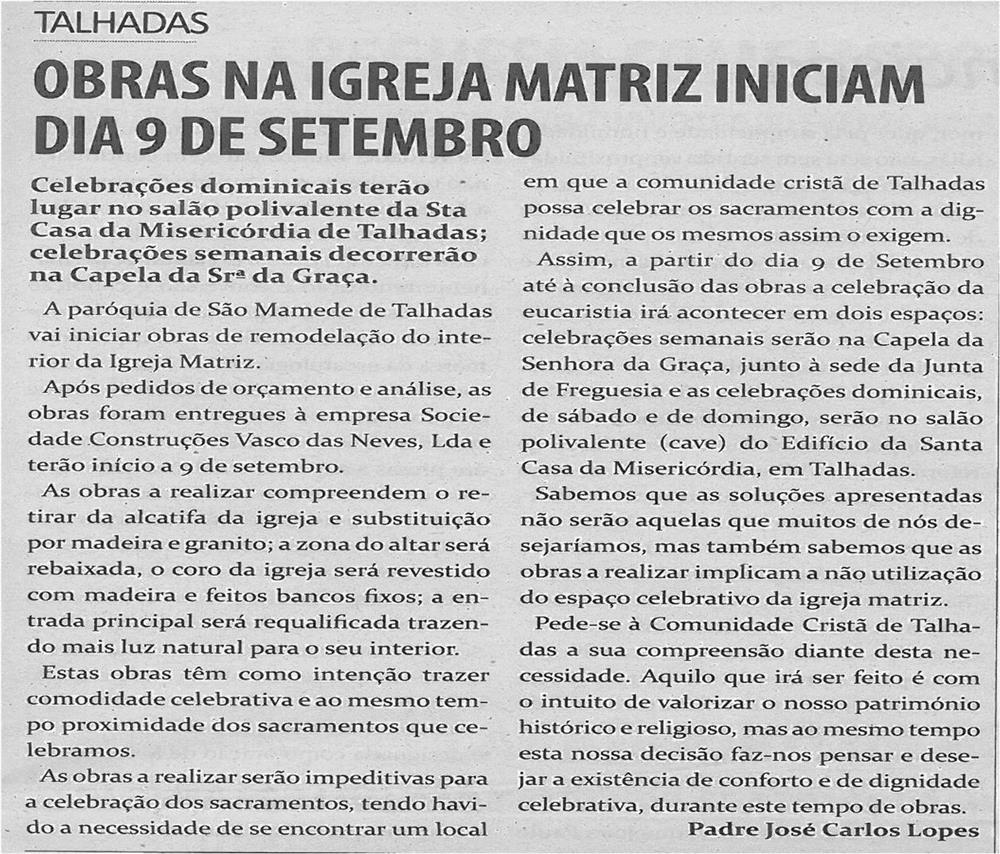 TV-ago13-p17-Obras na Igreja Matriz iniciam dia 9 de setembro