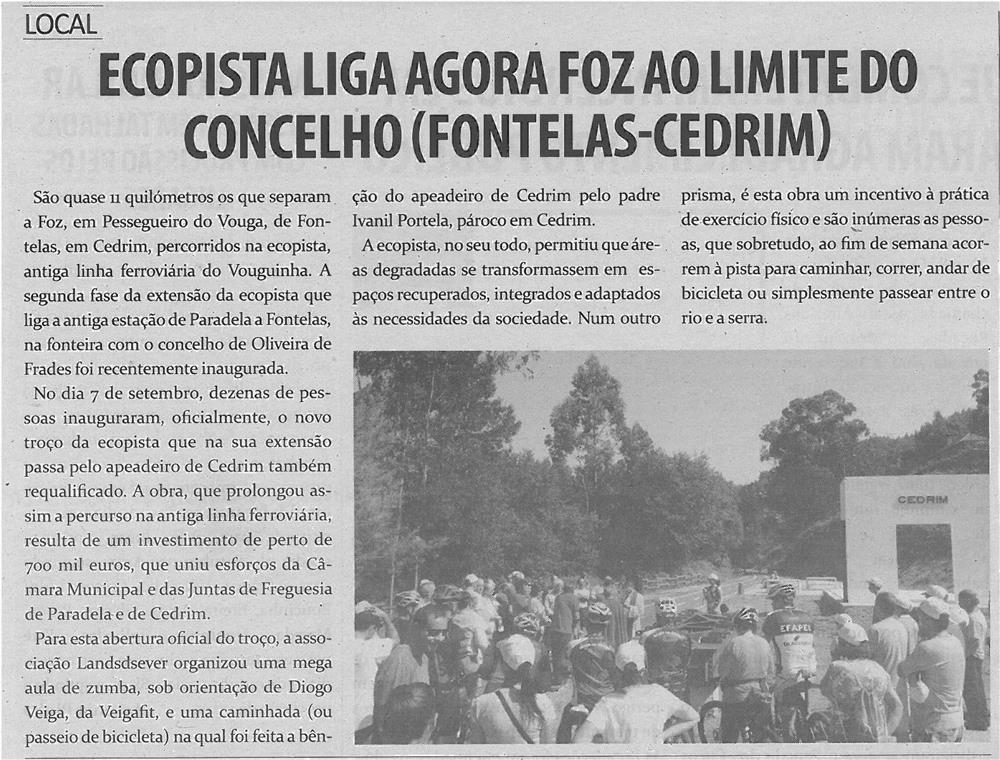 TV-out13-p14-Ecopista liga agora Foz ao limite do Concelho, Fontelas-Cedrim