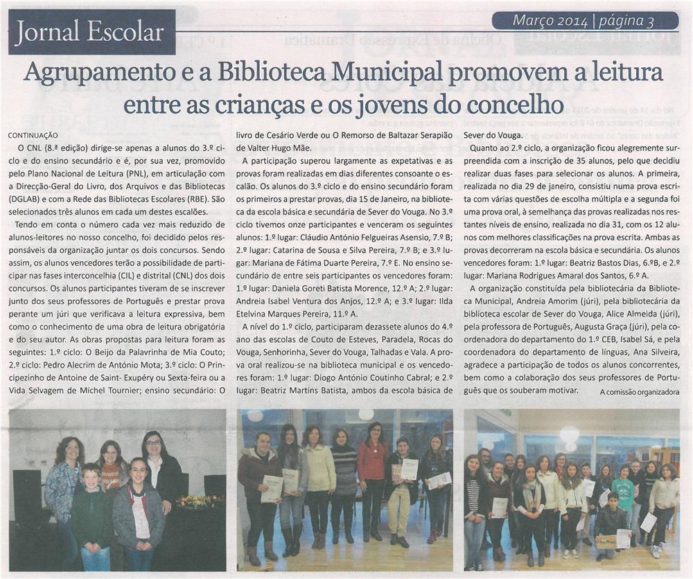 JE-mar14-p3-Agrupamento e Biblioteca Municipal promovem a leitura entre as crianças e os jovens do concelho