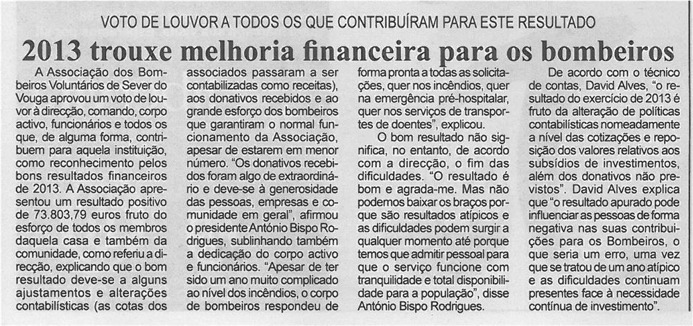 BV-2ªmar'14-p7-2013 trouxe melhoria financeira para os Bombeiros : voto de louvor a todos os que contribuiram para este resultado