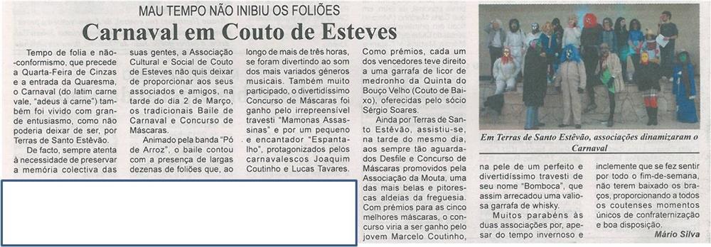 JPEG: BV-2ªmar'14-p16-Carnaval em Couto de Esteves : mau tempo não inibiu os foliões