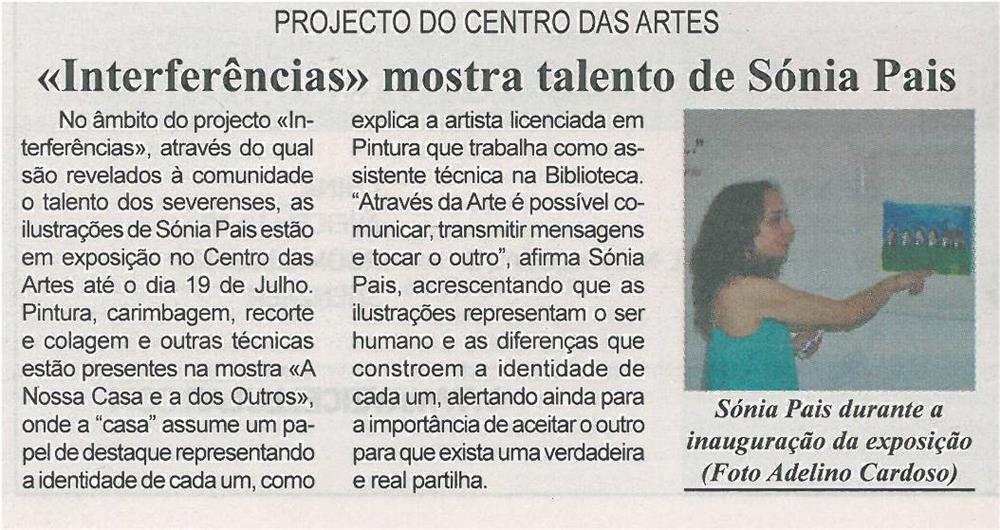 BV-2ªjun'14-p9-'Interferências' mostra talento de Sónia Pais