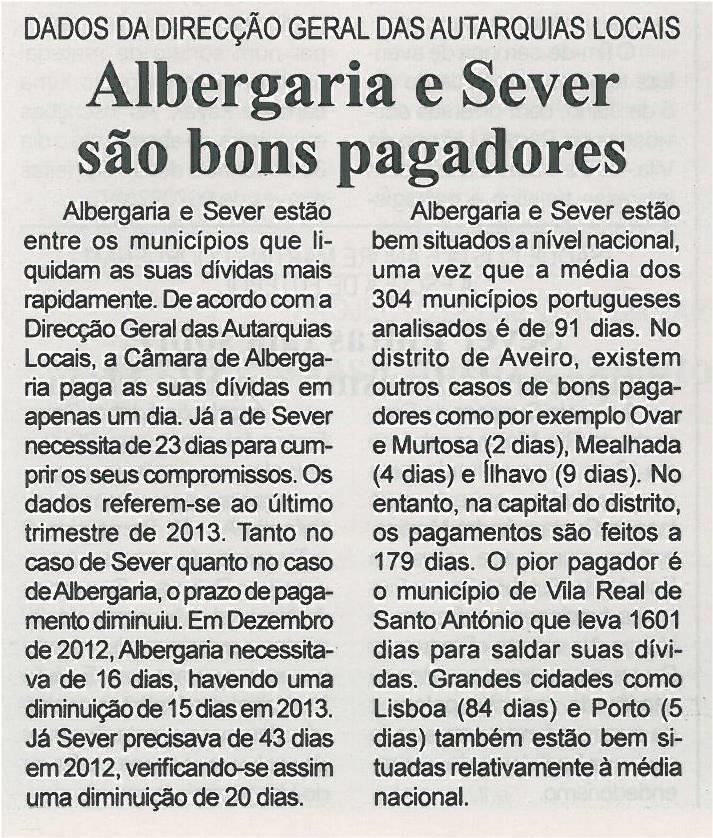 BV-2ªjun'14-p7-Albergaria e Sever são bons pagadores - dados da Direção Geral das Autarquias Locais