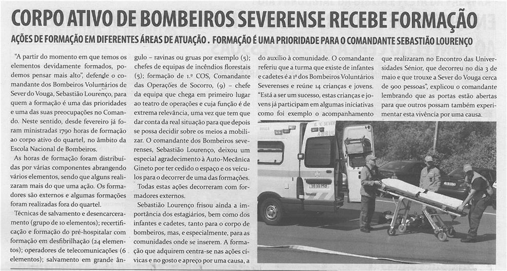 TV-jun14-p10-Corpo ativo de bombeiros severense recebe formação : ações de formação em diferentes áreas de atuação : formação é uma prioridade para o comandante Sebastião Lourenço - JPG
