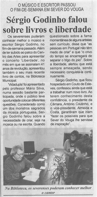 BV-2ªabr.'15-p.2-Sérgio Godinho falou sobre livros e liberdade : o músico e escritor passou o fim de semana em Sever do Vouga.jpg