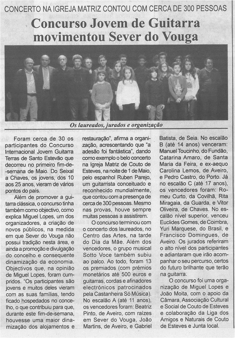 BV-1.ªmaio'15-p.2-Concurso Jovem de Guitarra movimentou Sever do Vouga : concerto na Igreja Matriz contou com cerca de 300 pessoas.jpg