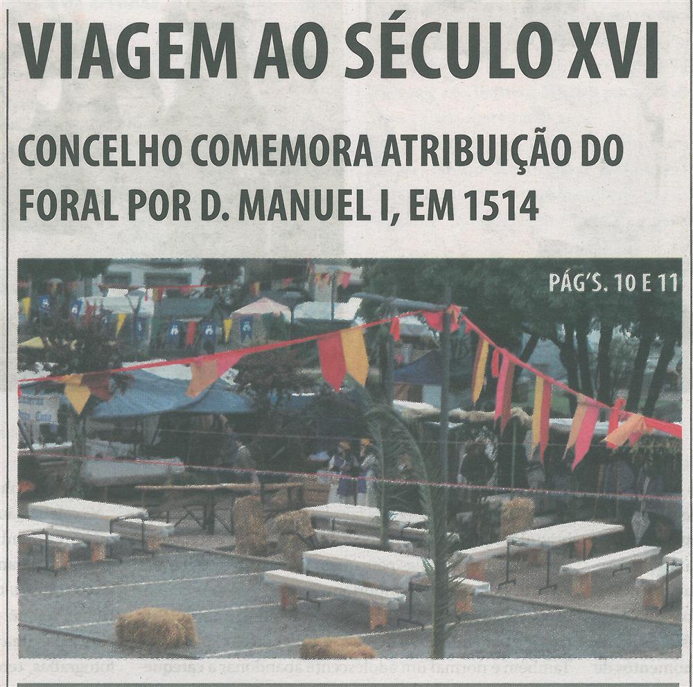 TV-maio'15-p.1-Viagem ao século XVI : concelho comemora atribuição do Foral por D. Manuel I em 1514.jpg