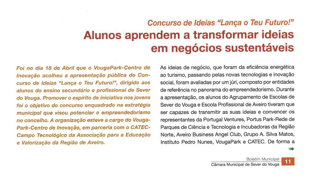 BoletimMunicipal-nº 33-nov'16-p.11-Alunos aprendem a transformar ideias em negócios sustentáveis [1.ª de duas partes] : Concurso de Ideias Lança o Teu Futuro.jpg