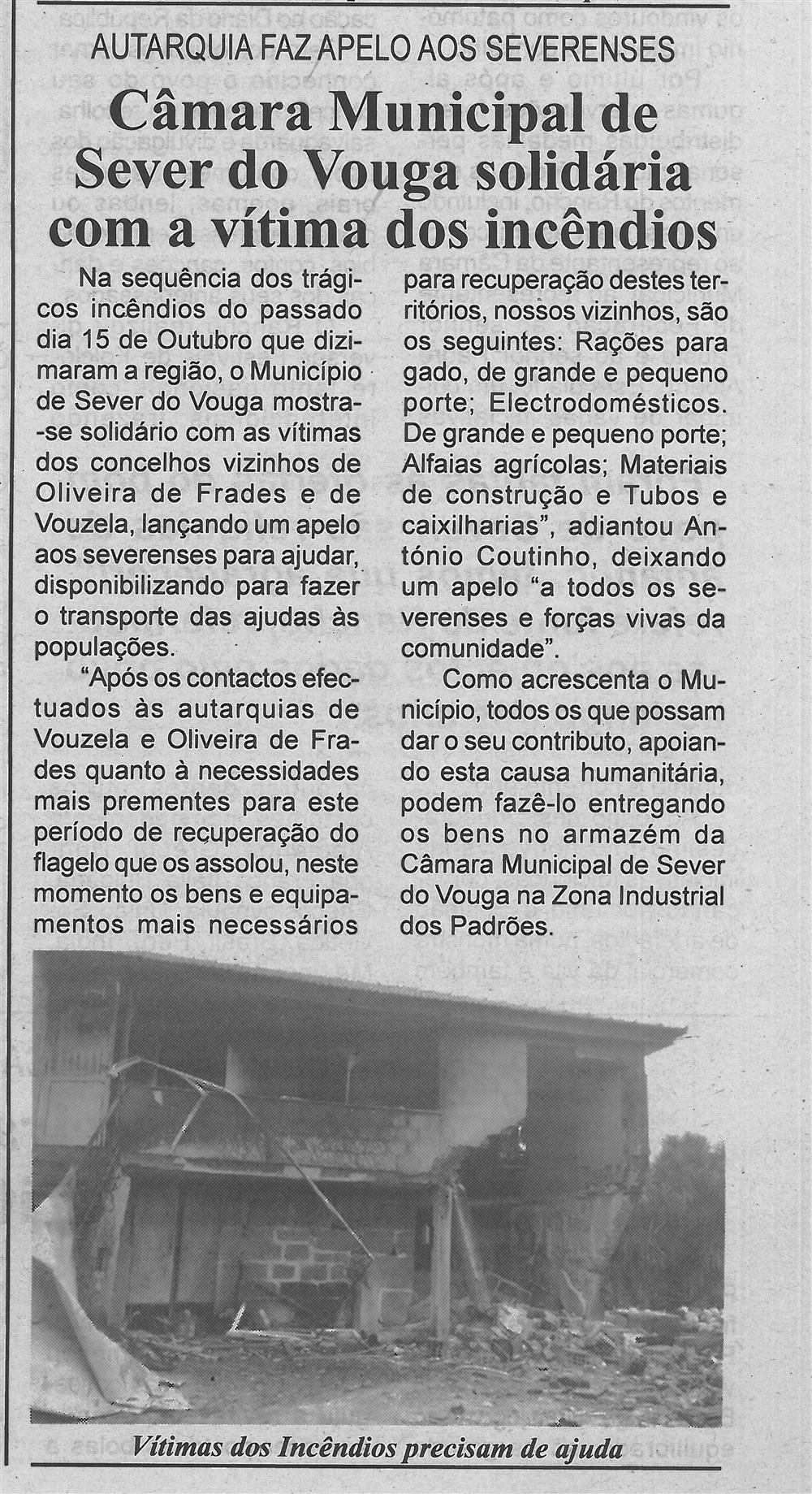 BV-1.ªnov.'17-p.5-Câmara Municipal de Sever do Vouga solidária com a vítima dos incêndios : autarquia faz apelo aos severenses.jpg