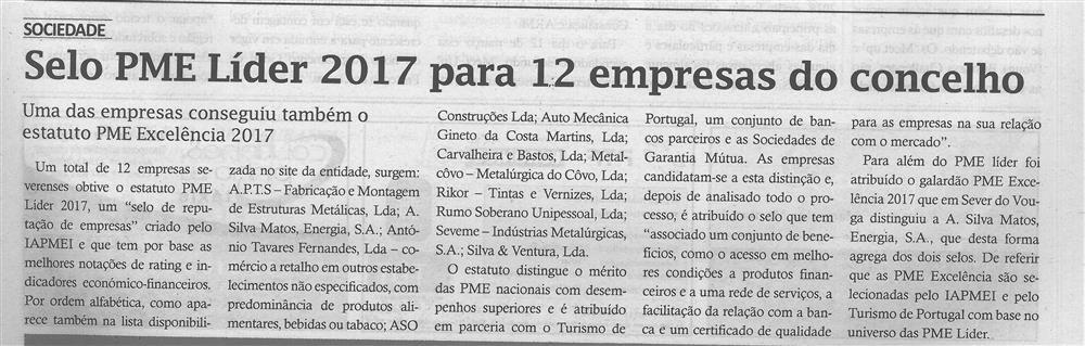 TV-mar.'18-p.5-Selo PME Líder 2017 para 12 empresas do concelho : uma das empresas conseguiu também o estatuto PME Excelência 2017.jpg