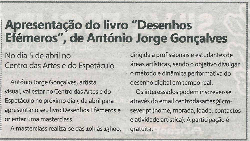 TV-mar.'18-p.15-Apresentação do livro Desenhos Efémeros, de António Jorge Gonçalves.jpg
