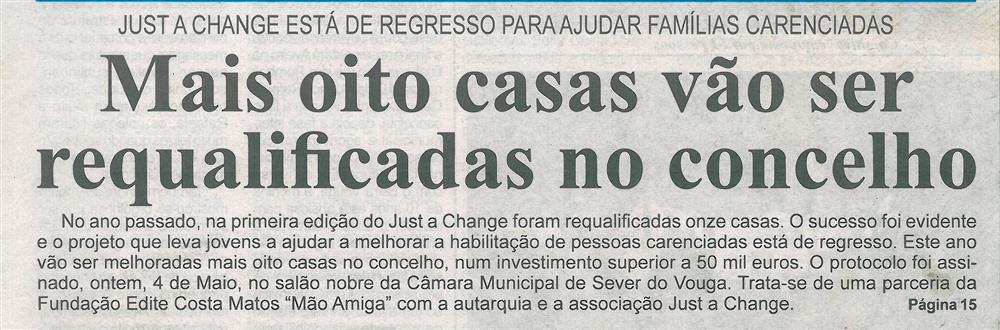 BV-1.ªjun.'18-p.1-Mais oito casas vão ser requalificadas no concelho : Just a Change está de regresso para ajudar famílias carenciadas.jpg