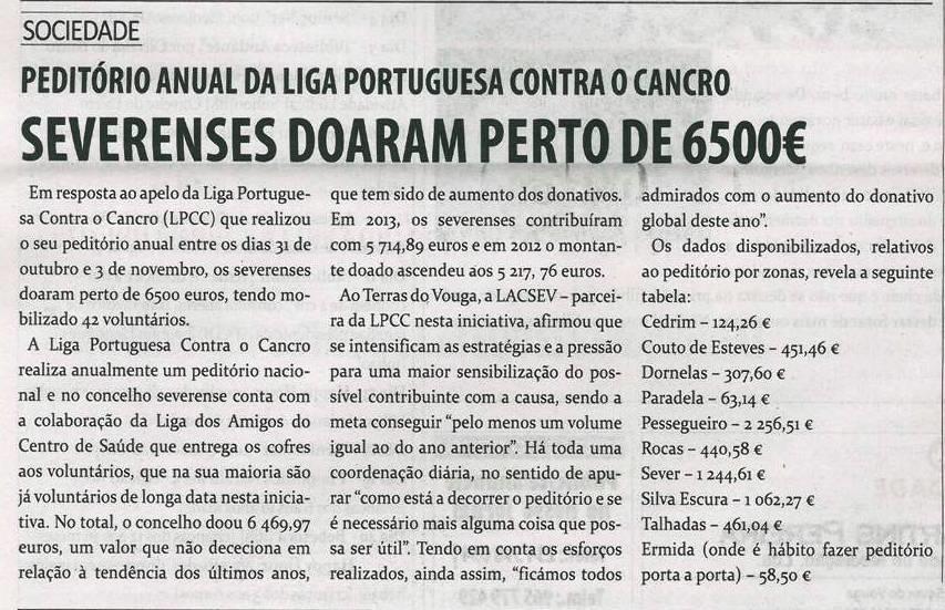 TV-dez.'14-p.16-Severenses doaram perto de 6500? : peditório anual da Liga Portuguesa Contra o Cancro.jpg