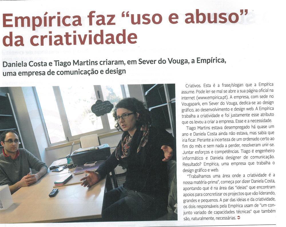 DA-04jan.'15-sup.,p.17-Empírica faz uso e abuso da criatividade [1.ª de seis partes] : Daniela Costa e Tiago Martins criaram, em Sever do Vouga, a Empírica.jpg