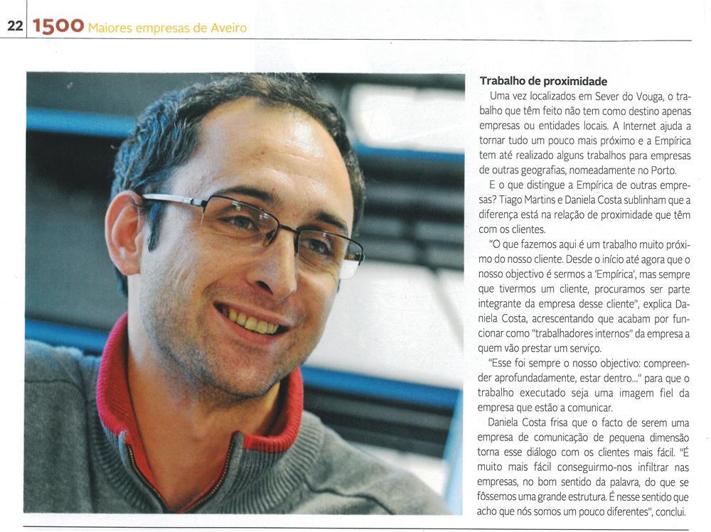 DA-04jan.'15-sup.,p.22-Empírica faz uso e abuso da criatividade [5.ª parte de seis] : Daniela Costa e Tiago Martins criaram, em Sever do Vouga, a Empírica.jpg