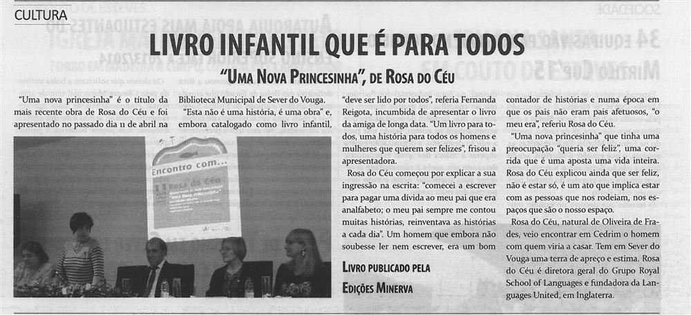TV-maio'15-p.5-Livro infantil que é para todos : Uma nova princesinha, de Rosa do Céu.jpg