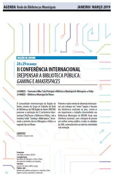 AgendaRBM-jan.-mar.'19-p.13-II Conferência Internacional Repensar a Biblioteca Pública : gaming e makerspaces.JPG