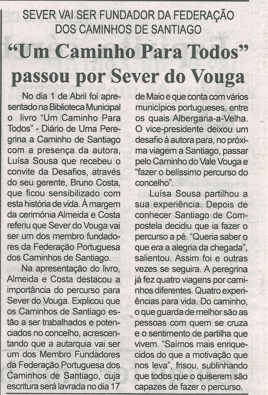 BV-1.ªabr.'19-p.16-Um Caminho Para Todos passou por Sever do Vouga : Sever vai ser fundador da Federação dos Caminhos de Santiago.jpg