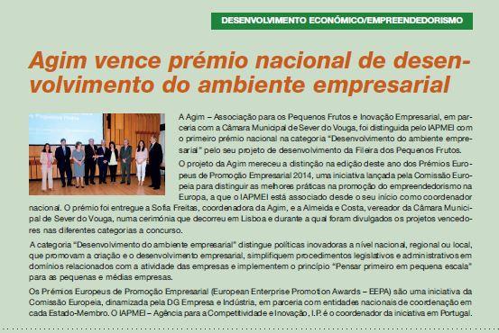 BoletimMunicipal-nº 31-nov'14-p.17-AGIM vence prémio nacional de desenvolvimento do ambiente empresarial.JPG