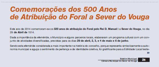 BoletimMunicipal-nº 31-nov'14-p.25-Comemorações dos 500 anos de atribuição do Foral a Sever do Vouga [1.ª de três partes] : cultura e turismo.JPG