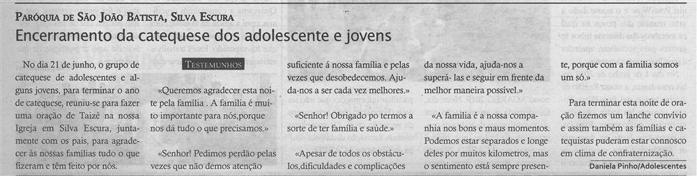 TV-jul.'19-p.14-Encerramento da catequese dos adolescentes e jovens : paróquias e freguesias : Paróquia de São João Batista, Silva Escura.jpg