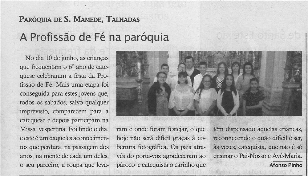 TV-jul.'19-p.15-A Profissão de Fé na paróquia : paróquias e freguesias : Paróquia de S. Mamede, Talhadas.jpg