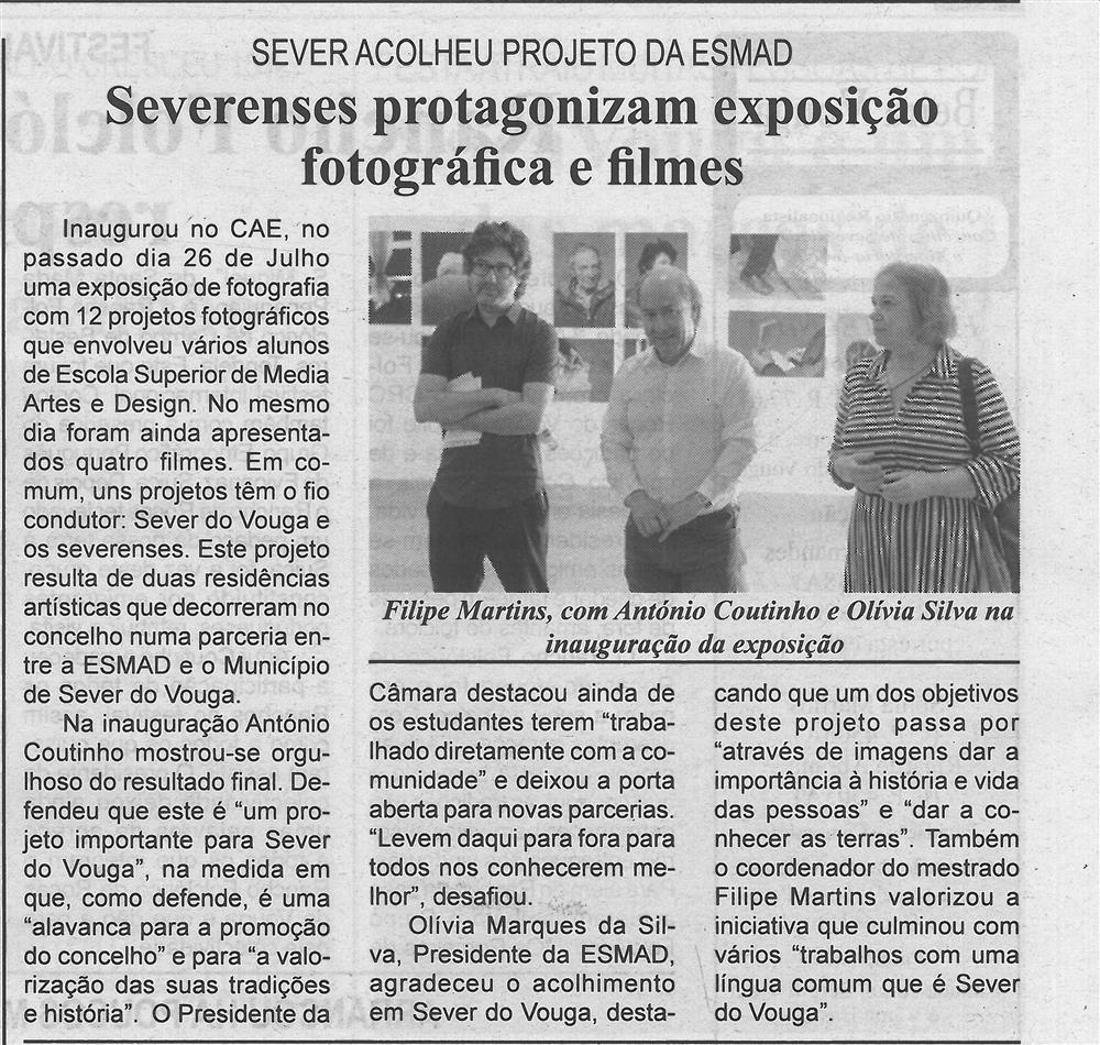 BV-1.ªago.'19-p.3-Severenses protagonizam exposição fotográfica e filmes : Sever acolheu projeto da ESMAD.jpg
