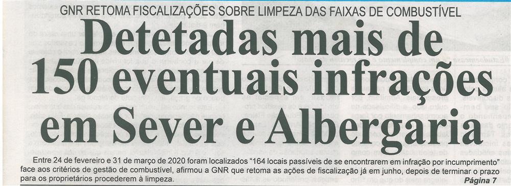 BV-2.ªmaio'20-p.1-Detetadas mais de 150 eventuais infrações em Sever e Albergaria : GNR retoma fiscalizações sobre limpeza das faixas de combustível.jpg