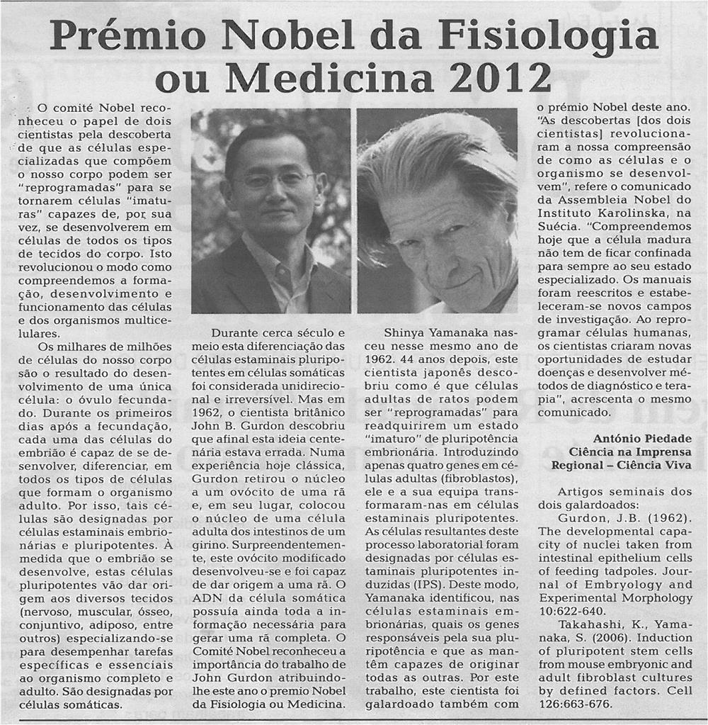 BV-2ªq-outubro12-p2-Prémio Nobel da Fisiologia ou Medicina 2012.jpg